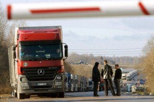 A line of trucks is seen 08 November at